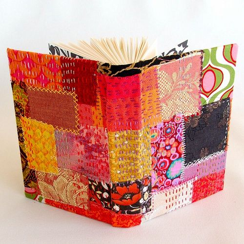 crazy patch book cover.  <3 maybe i should turn all my books into little artworks?