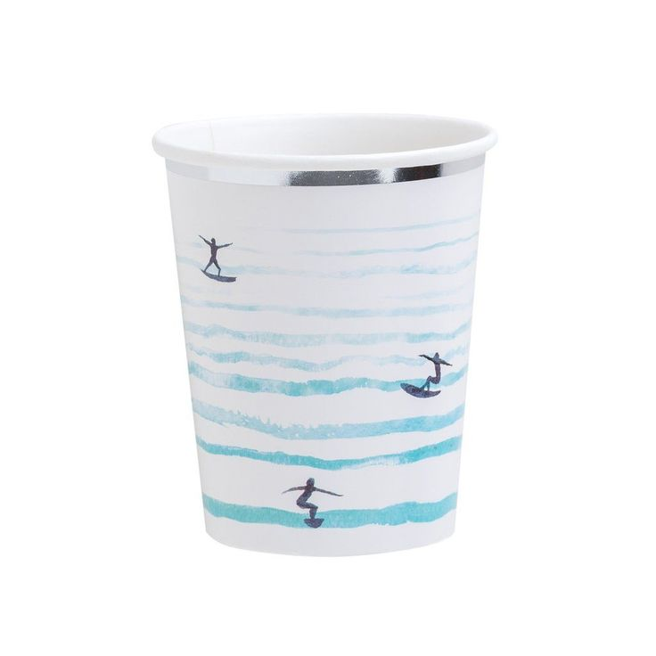 BLUE OMBRE SURF PAPER CUPS- Boys and Girls Beach inspired ocean surfing party by Fire & creme and sold by Bonjour Fete - A party supply store specializing in boutique high end supplies and goods in Los Angeles, CA