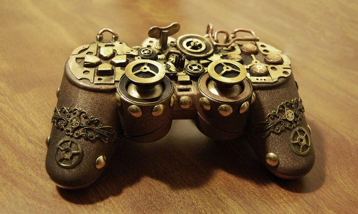 Steampunk PS Controller by cybercrafts.deviantart.com on @DeviantArt