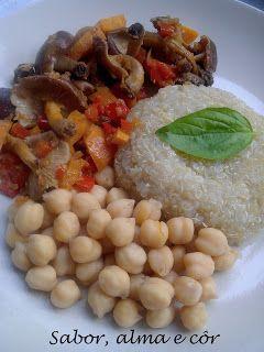 sabor, alma e côr: Estufado de Cogumelos Shitake com Quinoa e Grão