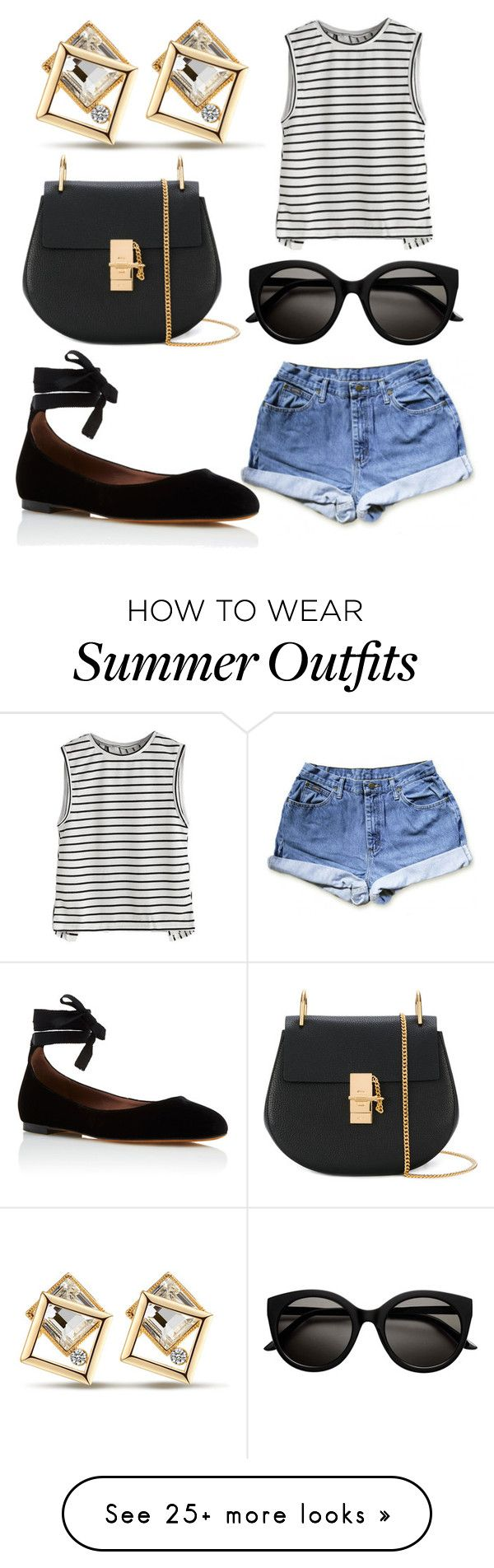 """""""Random Summer Outfit: Striped Tank"""" by megajor12 on Polyvore featuring Chloé and Tabitha Simmons"""