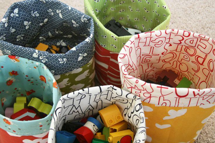 Round cloth storage bins.
