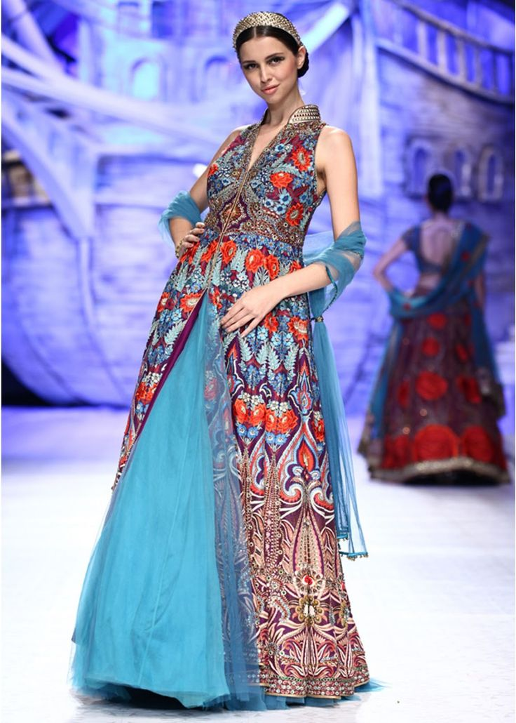 trendy-style-frozee-and-printed-long-open-gown-dress-by-JJ-Valaya.jpg (1143×1600)