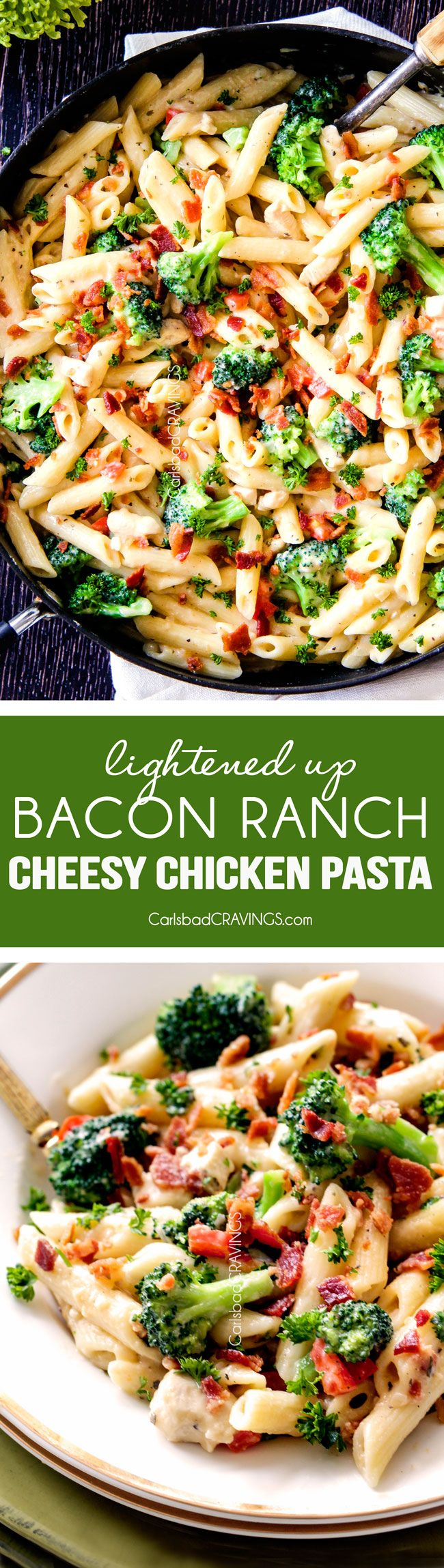 this Cheesy Chicken Bacon Ranch Pasta is my family's favorite!  The lightened up cheesy ranch sauce is incredible and you can add chicken, veggies, whatever you want!