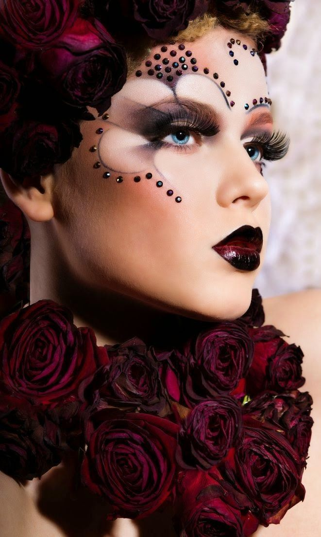Dark Rose Rhinestone Face Makeup
