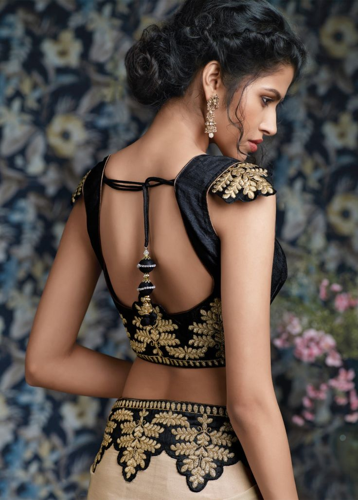 Stunning Gold Embroidery On Black & Beige #Saree.
