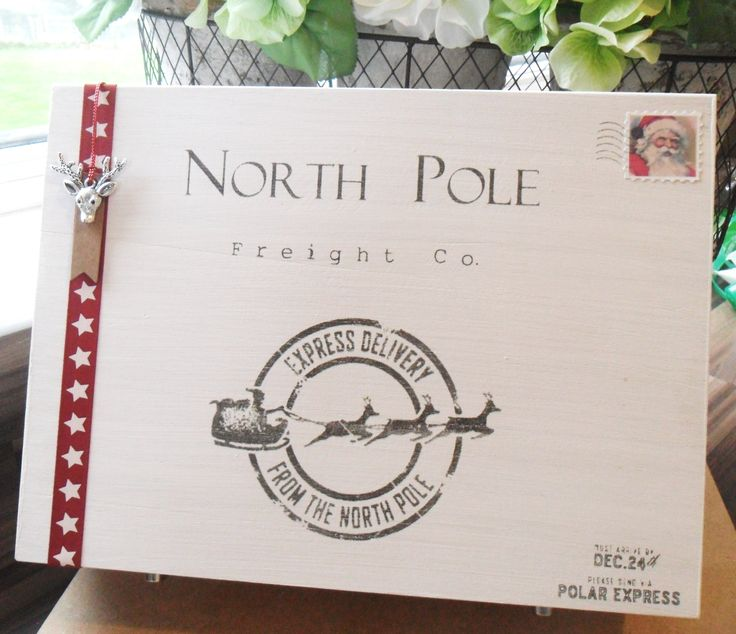 Wooden Christmas eve box North pole from Gracious Little Home