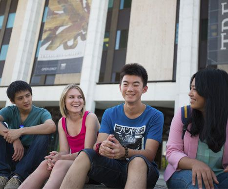 Secondary students from around the globe studing in Canberra - here outside the National Library of Australia