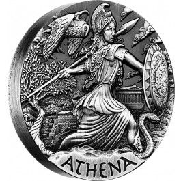 2015 Goddesses Of Olympus Athena 2oz High Relief Silver Coin. The second coin in the exciting new Goddesses of Olympus coin series features Athena, the Goddess of Wisdom and the patron of the city of Athens.  Athena represented courage, inspiration, law and justice, mathematics, strength, strategy, arts, and crafts. She was also considered the Goddess of War and a companion of many heroes including Odysseus, Jason, and Heracles.