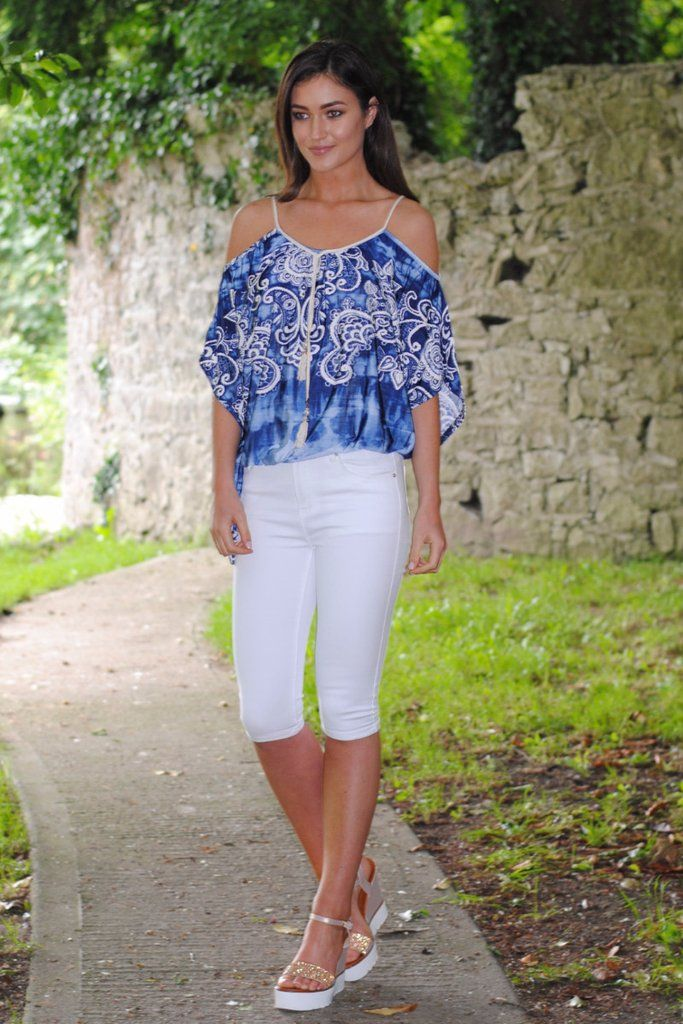 Cady 3/4 Length White Jeans