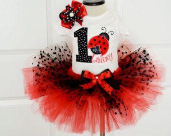 Girls First Red and Black polka dot tutu set,First LadyBug Birthday outfit,Girls 1st ladybug tutu outfit,Girls 1st Ladybug birthday outfit
