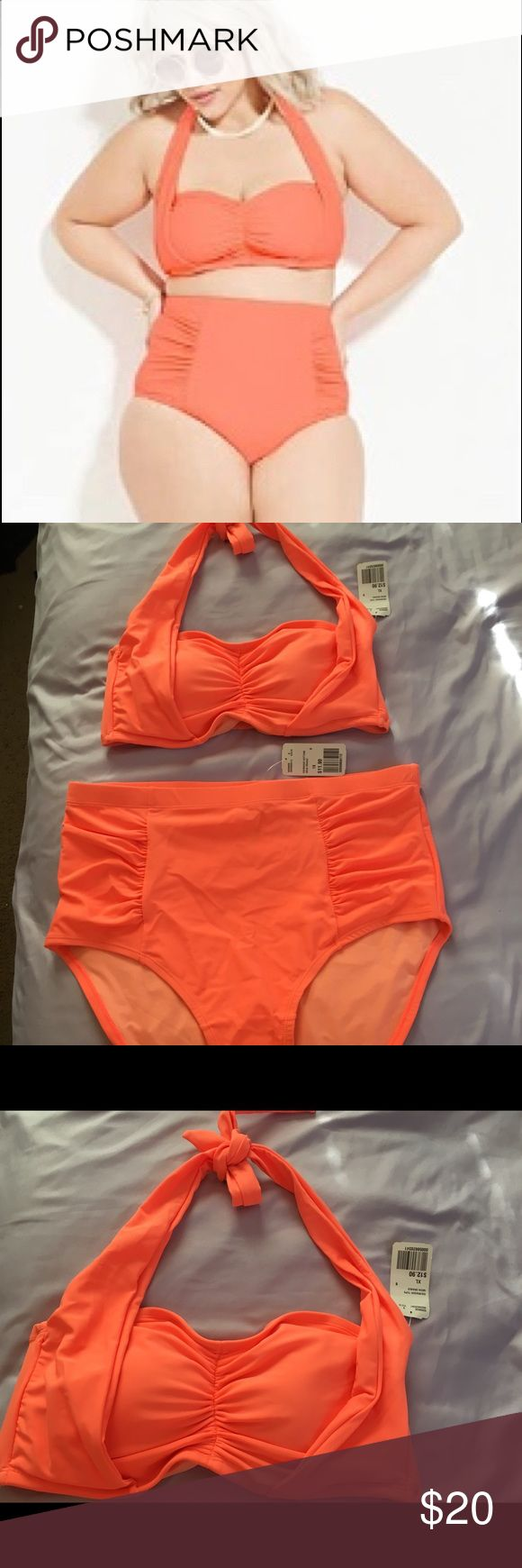 Forever 21 plus size bandeau high waist bikini Forever 21 plus size neon orange bandeau halter bikini top in XL and high waisted bottoms curvy in 1X  •ask questions in the comments  •ALL OFFERS WELCOME 💕 Forever 21 Swim Bikinis