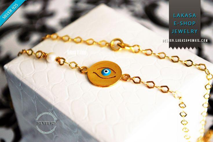 Χειροποιητο Κοσμημα Ασημενιο 925 Επιχρυσο Κολιε Αλυσιδα με μπλε Σμαλτο Ματακι Φυλαχτο και Μαργαριταρι ♥ ΔΩΡΕΑΝ Μεταφορικα με Αντικαταβολη | Lakasa e-shop #necklace #motherday #sterling #silver #jewelry #motherday #woman #moda #jewellery #gift #christmas #anniversary #birthday #mother #baptism #newborn #baby #girlfriend #handmade #artcrafts #joyas #mujer #γυναικα #κοριτσι #δωρο #free #delivery #freeshipping #δωρεαν #μεταφορικα #εξοδα #αποστολης #αντικαταβολη