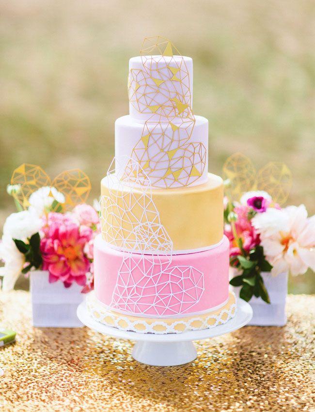 pink & yellow geometric heart wedding cake
