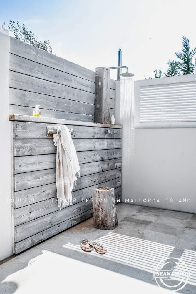 outdoor bathroom vent cover%0A Love an outside shower   raw wood and white and spacious