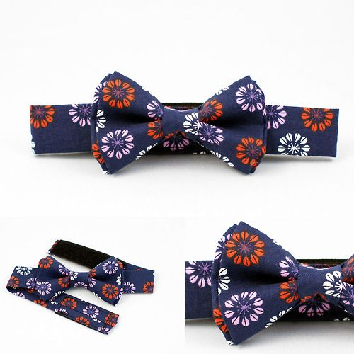 Fall showers bring winter flowers! Check out our navy daisy boys bow tie!