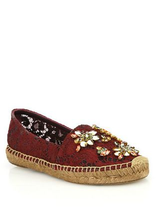 Jeweled lace espadrilles from #Dolce and #Gabbana.