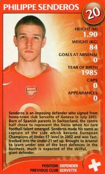 2004 Top Trumps Specials Arsenal #20 Philippe Senderos Front