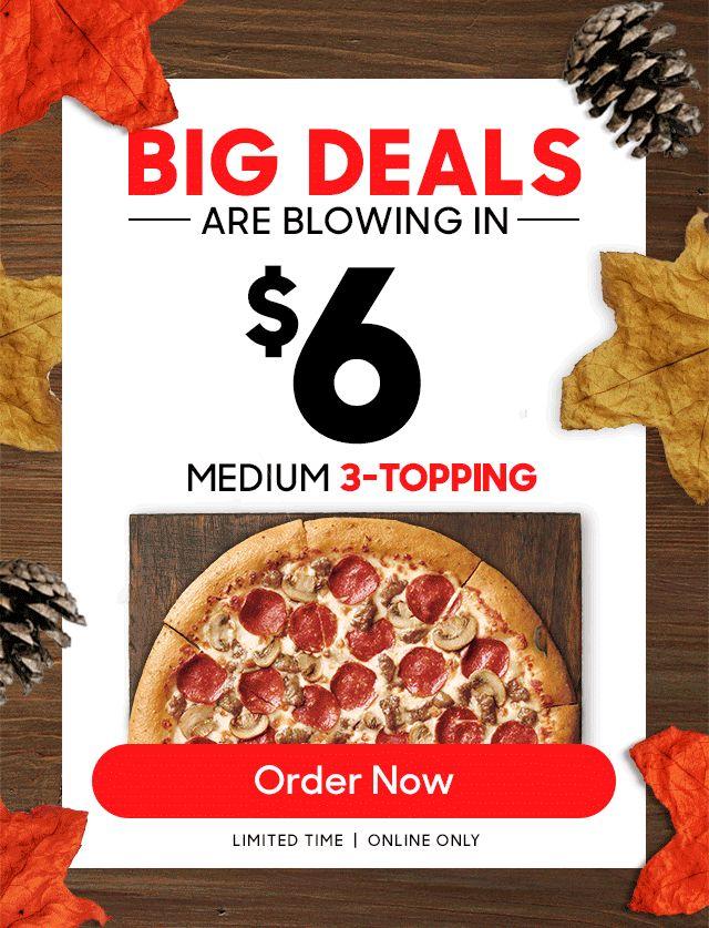 Freebie Stevie: $6 Med Pizza
