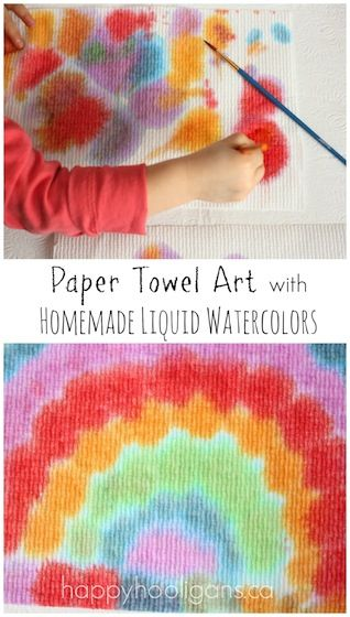 Toddler Art: Paper Towels and Liquid Watercolours - Happy Hooligans