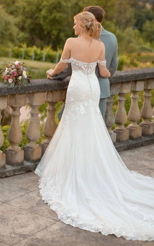 0250171298e D2642 Silver Embroidered Wedding Dress with Off-the-Shoulder Straps by  Essense of Australia