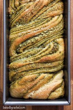 Most delicious bread EVER.  Braided Pesto Bread Recipe from bakedbyrachel.com