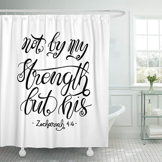 Amazon Com Emvency Shower Curtain Not By My Strength But His
