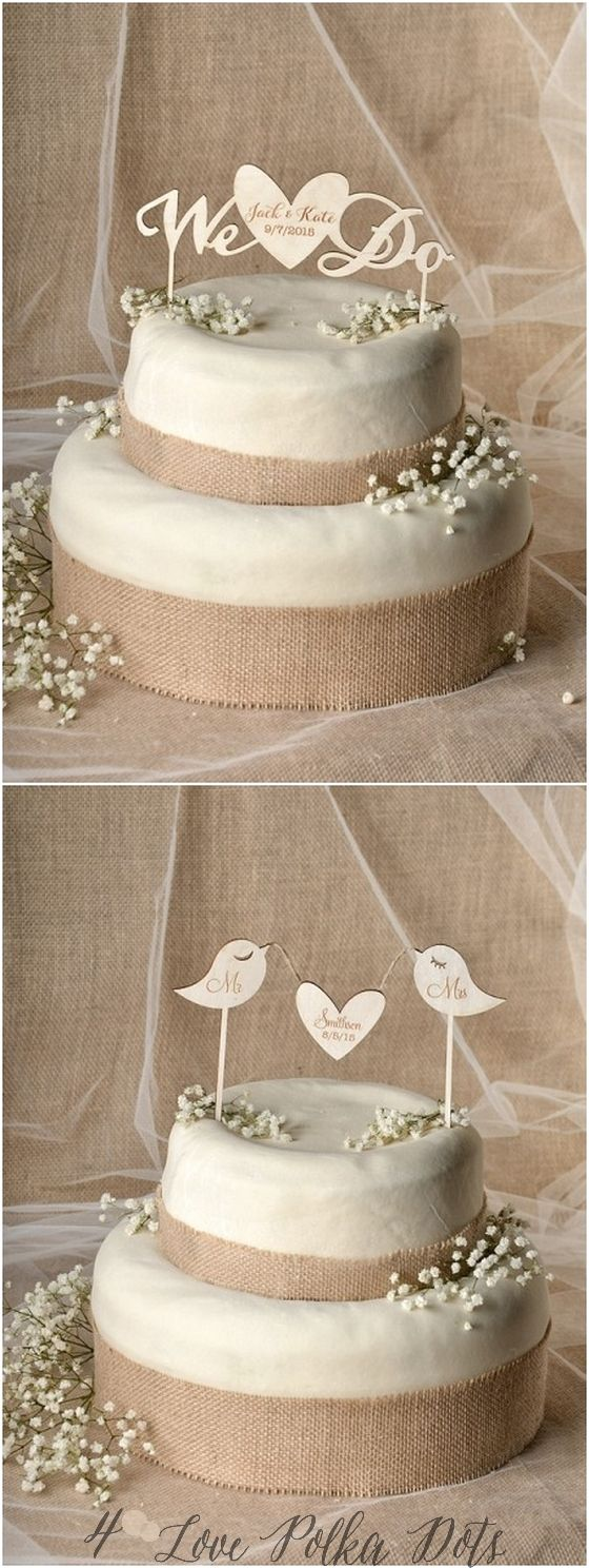 Rustic wooden laser cut wedding cake toppers