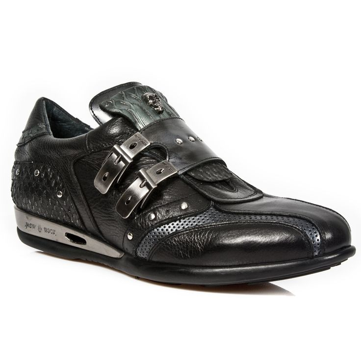 Quality Black & Silver leather dress sneakers with a touch of serpent skin! 2 Metal buckles over the top to adjust for comfort and fit. Metal on the heels. Available in all Unisex Sizes.  NOW ONLY $199.99 w Shipping Included! http://www.newrockbootsusa.com/Black-Leather-Serpentia-Hybrid-Dress-Shoes_p_2467.html