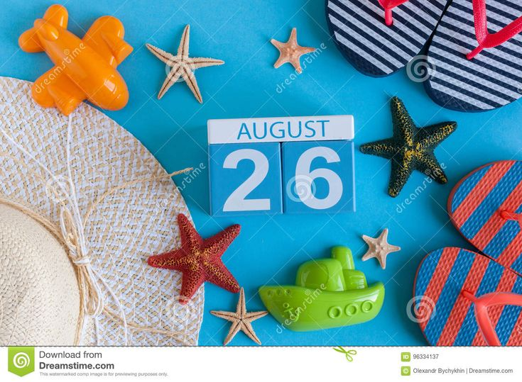 August 26th. Image Of August 26 Calendar With Summer Beach Accessories And Traveler Outfit On Background. Summer Day - Download From Over 66 Million High Quality Stock Photos, Images, Vectors. Sign up for FREE today. Image: 96334137