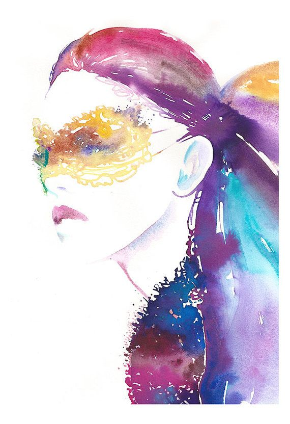 """Print of Watercolor Painting, Fashion Illustration, 13"""" x 19"""". Titled: Masquerade3"""