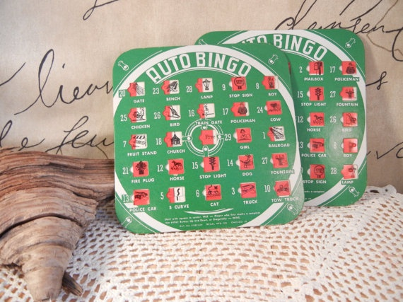 How fun are these!!  2 Travel Auto Bingo Cards Vintage v142 by DandelionLaneVintage, $10.00