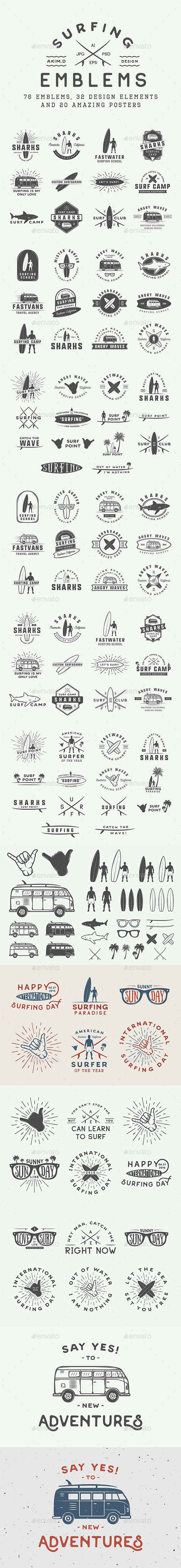 Vintage Surfing Emblems Templates PSD, Vector EPS, AI Illustrator