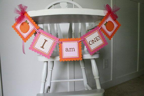 Pumpkin Girl High Chair Banner Pumpkin Pink and by thelovelyapple, $15.00