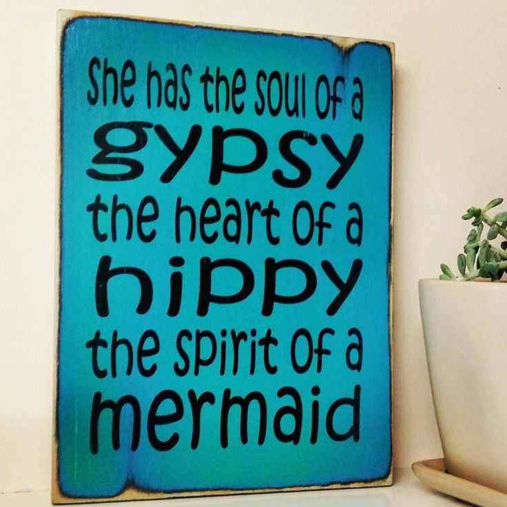 Gypsy Hippy Mermaid Rustic Blue Wood Sign gypsy-hippy-mermaid-rustic-blue-wood