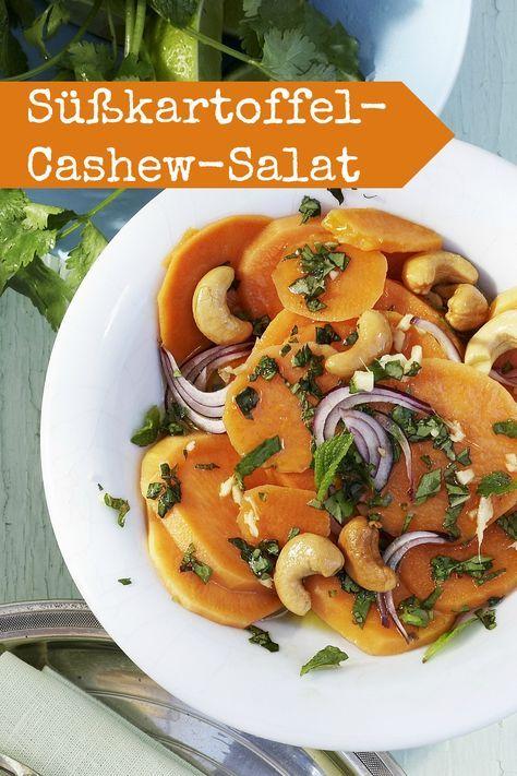Süßkartoffel-Cashew-Salat mit Kräutern und Ingwervinaigrette - Wie gut das gesunde Ernährung so fabelhaft schmeckt! |