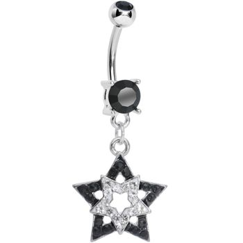 Black Clear Gem Paved Star Within a Star Dangle Belly Ring   Body Candy Body Jewelry #bodycandy #bellyring #piercing