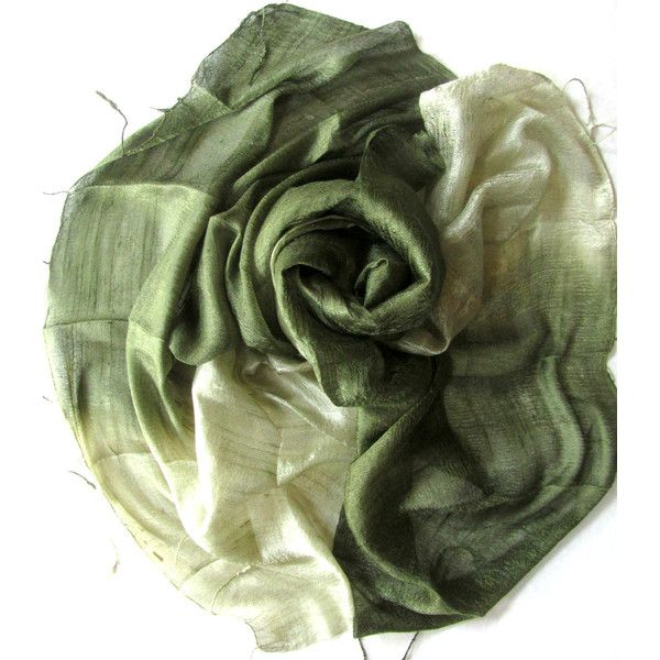 Olive Green Silk Shawl Hand Woven Pure Raw Silk Accessories Wedding Shawl Bridesmaid Gift Hand Dyed Wedding Gift Handmade Accessories (€21) found on Polyvore featuring women's fashion, accessories, scarves and planetearthhandmade