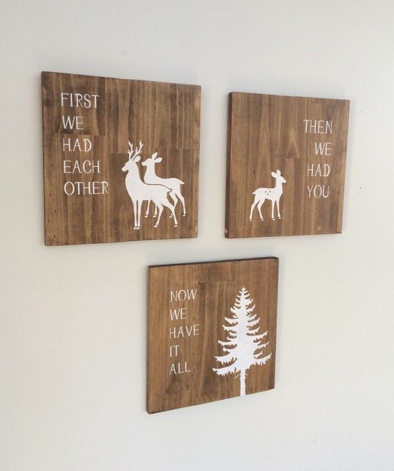 Deer Nursery Decor Woodland Creatures Baby by SweetBellaStationery -- in keeping with the theme