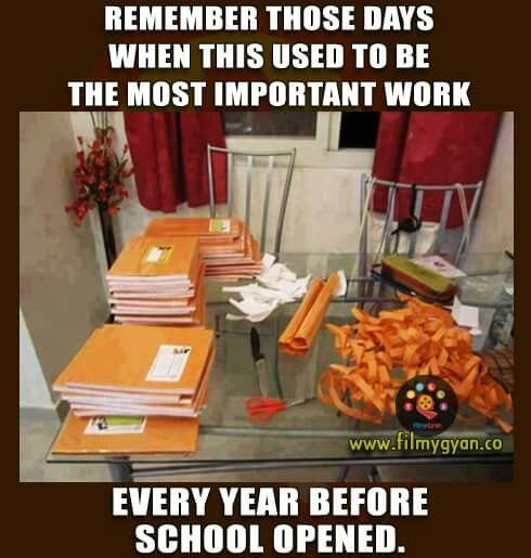 Covering all books and notebooks with brown paper and labeling....