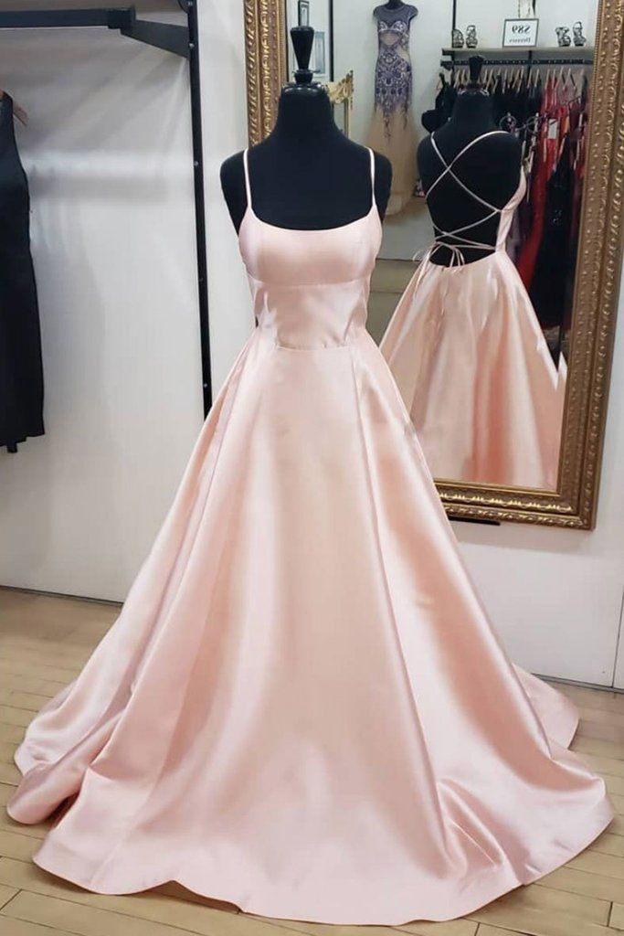 Pink Satin Backless Long Simple Prom Dress, Pink Evening Dress