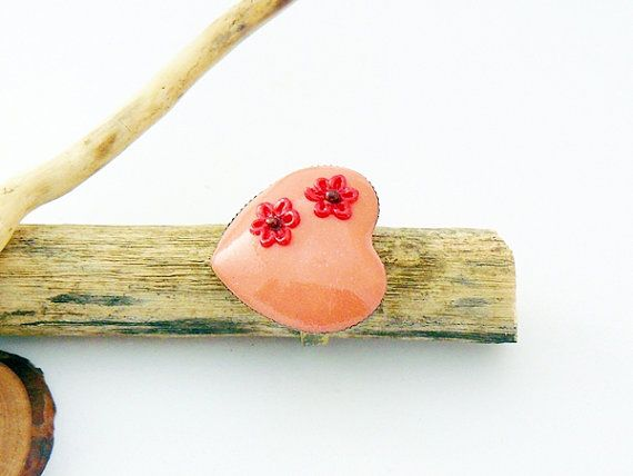 Pink heart ring with flower  polymer clay jewelry by spikycake, $15.00