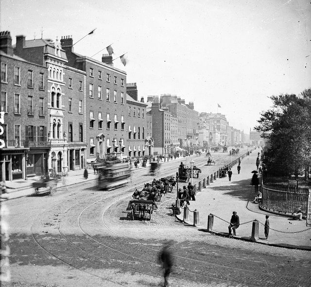 Stephen's Green, Dublin, c. 1873-1878 (I used to live in Dublin and can really say that this street still looks relatively similar to this day). #Victorian #streets #Ireland #1800s