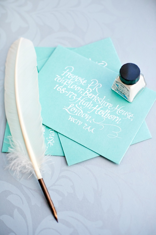 #proposepr #tiffanyblue #calligraphy #quill #whiteink #weddingmarketing