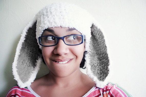 Adult Size White Bunny Ears Hat With Grey Inner Ears. Handmade with love by Babamoon :)    *Can be made in sizes Preemie to Adult and other colours on request!