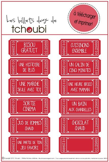 Bon pour à imprimer pour la Saint Valentin #printable Tchoubi