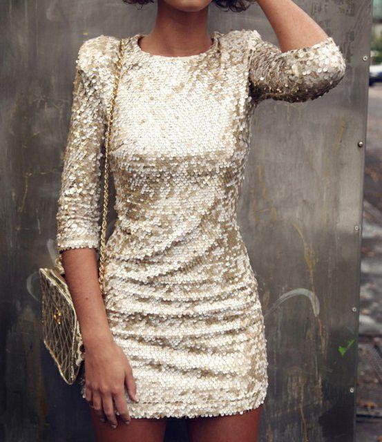 Sequin Long Sleeve Dress.
