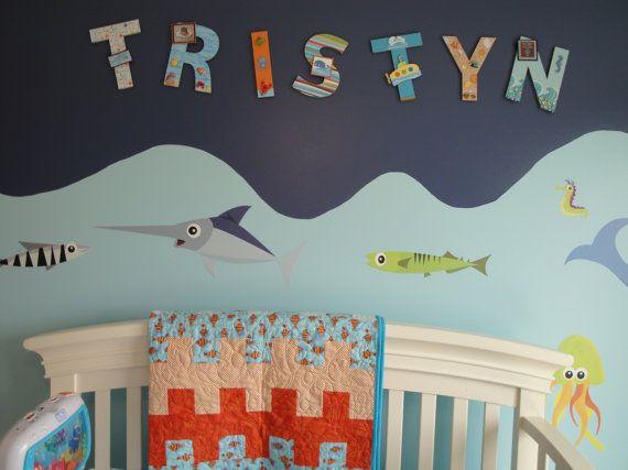 Sea Life Nursery Letters Custom Wall by BearySpecialScrappin