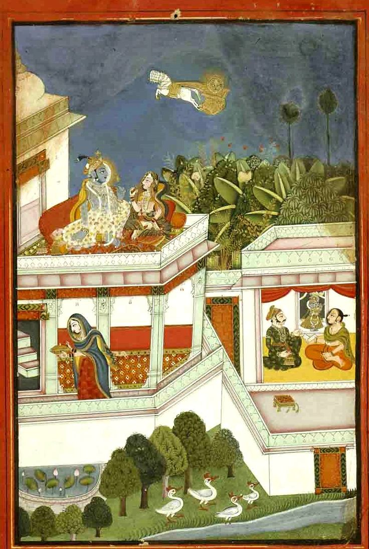 Baramasa (barahmasa) scenes depict the twelve months. [Baramasa Scene].  Present Location: Varanasi (Banaras), Banaras Hindu University, Bharat Kala Bhavan.  Bundi or (Kota/Kotah), Bundi District, Rajasthan, India. Date: ca 1750 CE