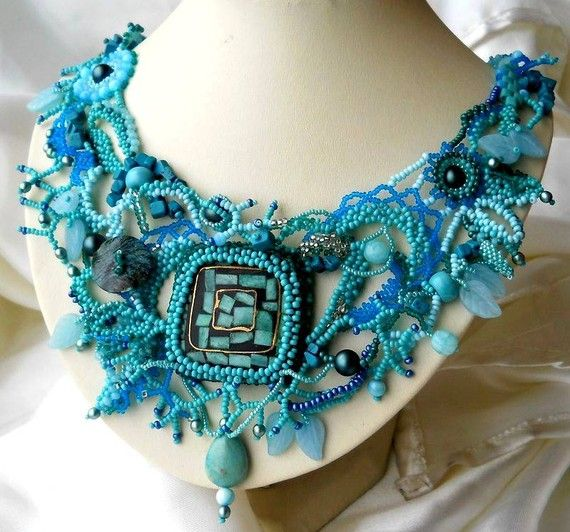 Beaded jewelry Turquoise Freeform Peyote Necklace ooak by ibics, $210.00-Love the beads and lacey look!